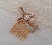 RHINESTONE BRIDAL VINTAGE Hair Comb Bow Shape Paste Stones Gold Bride Hair Accessories Couture Elegant One of a Kind Feminine Wedding
