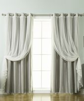 Gray Tulle Lace & Faux Silk Curtain Panel – Set of…
