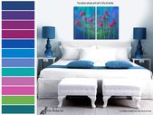 Bright colored abstract floral painting, Laundry room wall decor, Bathroom pictures, Kitchen canvas wall art – Vertical print