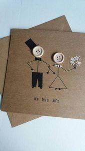 Hochzeit Karte – Herr und Frau – Ehe – Hochzeit Tag-Grußkarte – Kraft-Tasten – Braut-Bräutigam
