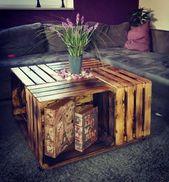 Weinkisten Tisch selber bauen #wohnzimmertisch #ob…