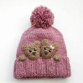 Bären Sie-Hut, Kinder Wintermütze, Mütze, Strickmütze, Pom Pom Mütze, Kleinkind Mädchen Hut, Kinder-Winter-Outfit, Baby Mütze, Teddybären, schneiden Mädchen Mütze