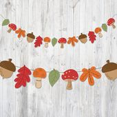 Printable Banner Autumn, Garland Leaves Mushroom Acorn, Nursery Banner, Nursery Decoration, Party Decoration, Autumn Garland, Fall