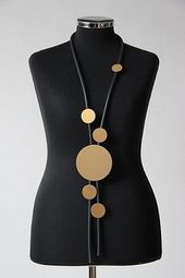 ♦ Layered look precious rubber chain, black and gold discs, long (2) ♦ – jewelry …
