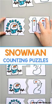 Practice counting with this free snowman counting puzzles printable! #counting #…