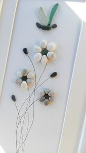 Pebble art flowers, Flowers decor, Anniversary gift, wedding decor gift, Flowers art, Birthday gift, housewarming gift