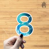 "Number ""8"" Ocean Vinyl Sticker, Best Friend Gift, Laptop Decals, Name Stickers, Monogram, Macbook De"