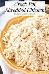 The easiest way to make shredded chicken! This Crockpot Shredded Chicken recipe …
