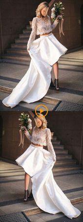 Vit bröllopsklänning i två delar Bateau lång låg …, #Bateau # Bridal sammetsklänning #H …