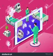Vector Isometric Telemedicine Online Medicine Healthcare Stock Vector (Royalty Free) 1076460626