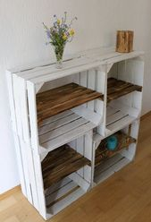 These beautiful old white wooden boxes with flamed intermediate board enhance every room and attract attention with their shabby-chic look. They are versatile: In the hallway as a shoe rack In the living room as a bookshelf, side table or stool In the kitchen