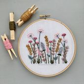 Floral Meadow Hand Embroidery PATTERN | PDF Download, Hand Embroidered Flowers, Printable Stitching Guide, Spring Meadow, DIY Hoop Art