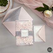 Invitations  Blush pink and silver laser cut wedding invitations DIY inspiration #EWI