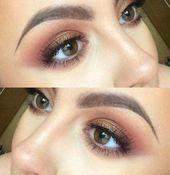 Hochzeits Make-up für braune Augen Brautjungfer natürlichen Looks 62+ super Ideen