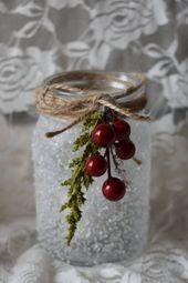 Dies ist eine handgemachte Winter Mistel Einmachglas mit realistischen Schnee …   – Christmas Dekor 101