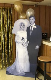 Wedding Anniversary Cardboard Cutout Decoration – Scan photo at 600 dpi – photo approval required before ordering – 3-8 foot tall. – Golden wedding