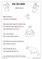 Lesetext zu Ostern: Der Eierdieb – LRS/Dyskalkulie – Ostern