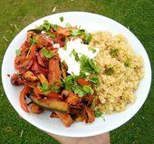 Schnelles Mittagessen heute, Barbeque Quorn mit Quinoa – all die Fragen … –  #barbeque #Die…