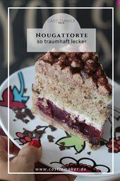 Nuss-Nougat-Torte mit Kirschen