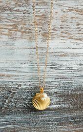 Gouden schelp medaillon ketting Seashell ketting zoetwaterparels ketting bruidsmeisje cadeau parel zomer bruiloft strand zeemeermin cadeau voor haar