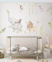 Reusable Fabric Wall Decal, SAFARI ANIMALS, Nursery wall decal, Watercolor decal, Nursery sticker, African animals wall decal, Aida Zamora
