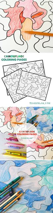 Camouflage Coloring Pages A Creative Table Prompt Tinkerlab Arts And Crafts For Teens Art Activities For Kids Art And Craft Videos