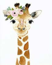Watercolor giraffe, Woodland nursery, Animal Paintings, Fox, Bear, Deer, fawn, w…
