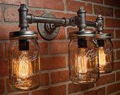 Mason Jar Light Fixture-Industrial Light-Light-Rustic Light-Vanity Light-Wall Light-Wall Sconce-Steampunk Light