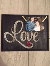 Love string art sign and picture holder