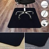 Office Marshal Black Office Chair Mat 48 X 60 Carpet Floor Protection No Recycling Material High Impact Strength Black Car Burostuhl Matte Recycling