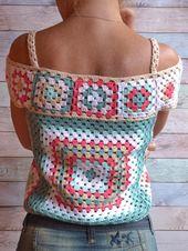 CROCHET Shirt off épaule High Grandma carré Multicolor Crochet Boho Lace TOP femme