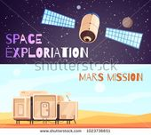 Space Technology Banners Set Two Horizontal Stock Vector (Royalty Free) 1023736651