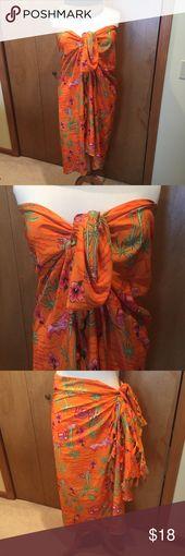 Hawaiin sarong- orange with palm trees and flowers One size- Hawaiin sarong Pret…