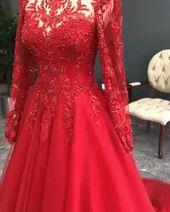 Luxus rote Abendkleider mit Ärmeln | Abendgarderobe Mit Spitze – Kleider