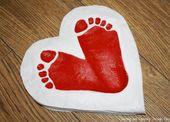 Valentinstag-Salzteig-Abdruck-Herzen
