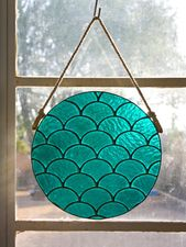 Stained Glass Fans Round 10 Roped Window Hanging Wall Art Customizable Suncatcher Glass In 2020 Modern Stained Glass Window Hanging Stained Glass