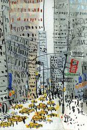 NEW YORK Bild, New York City, signiert Kunstdruck, NYC Gebäude, New York Taxi, Aquarell Malerei, Manhattan Wolkenkratzer, Clare Caulfield