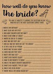 Wie gut du es kennst, Jugendspiele Ausdrucke, Bridal Shower Idee, Bridal Shower Instant Download, Hochzeitsspiel, Kraftpapier   – Hochzeit
