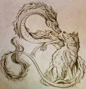 Bello >> concetto di tatuaggio di lupo e drago nel drago cinese …..
