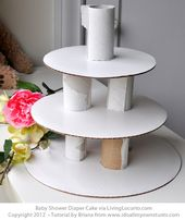 Baby Shower Haul How to make a Baby Shower Diaper Cake. Simple step-by-step craft tutorial. Perfe...