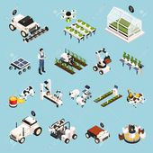 Smart farm set with technology symbols isometric isolated vector..