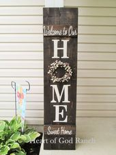 HOME Porch Sign Welcome Wreath Personalized Pip Berry 5′ As for Me My House Reversible Option Two Sided Family Wood Sign Hand Painted