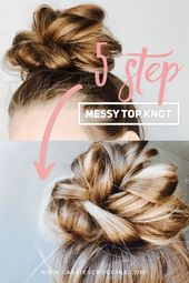 5 step Messy Top Knot – Cassie Scroggins – simple messy bun of top knot 5 steps! Messy Buns | Pointed Knot – # …
