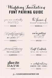 Invitations  Great combinations of script and serif/sans serif typography for any style!