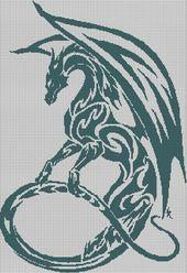 Blue Mist Dragon silhouette cross sew sample in pdf