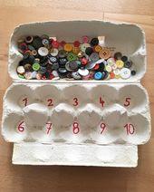 🥚🐣 Eierboxen umgebaut 🐣🥚 Hier sind 2 Beispiele: 1️⃣ Knopfbox: Die Kinder füllen die Fächer mit einer kleinen Zange oder Pinzette (ist aber auch eine Herausforderung mit den Fingern ☝️) – natürlich mit der richtigen Anzahl von # Knöpfen ☝️☺️ – > Feinmotorik + Mathematik !!! 🙌 Box 2️⃣: Das Kind wählt eine Vorlage aus und sollte nun die Verschlüsse (wir sagen # Stecker 😁) in der richtigen Farbe am richtigen Ort anbringen. #raumlagewahrnehmung #raumlageorientierung Box # 2 funktioni   – Mathe