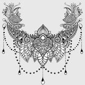 Mandala India: modello di disegno del tatuaggio con elementi mehndi. decorato
