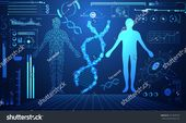 abstract technology ui futuristic concept human digital DNA health care of hud interface hologram elements of digital data chart, communication,innova…