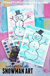 Combined Media Colourful Watercolor Snowman Child Craft Concept