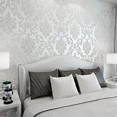 10M Optik 3D Vlies Wand Tapete Barock Rolle Wandtapete Dekoration weiss SU